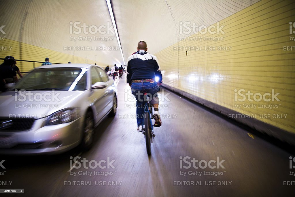 Cyclists riding the Wrong Way at Critical Mass stock photo