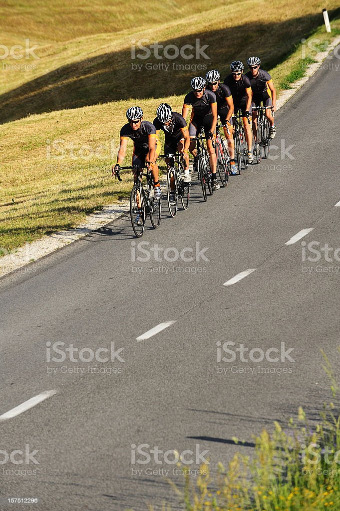 Cyclists team practicing royalty-free stock photo