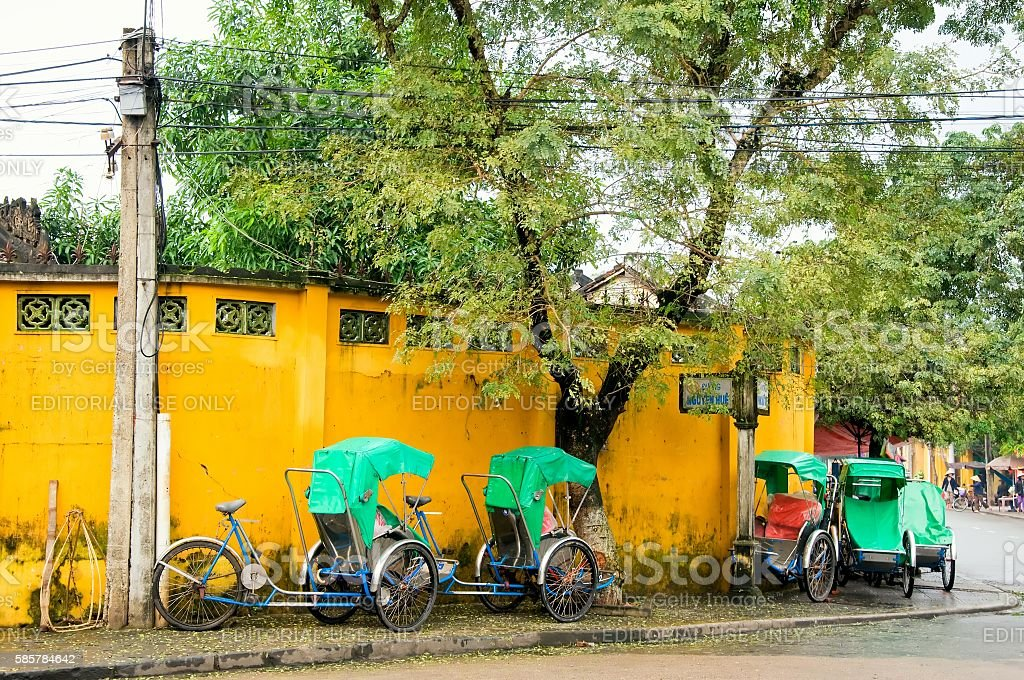 Cyclo parked in Hoi An ancient town, Danang, Vietnam stock photo