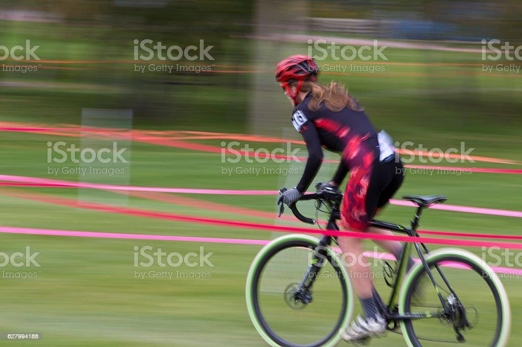Cyclo-Cross Racer Girl stock photo