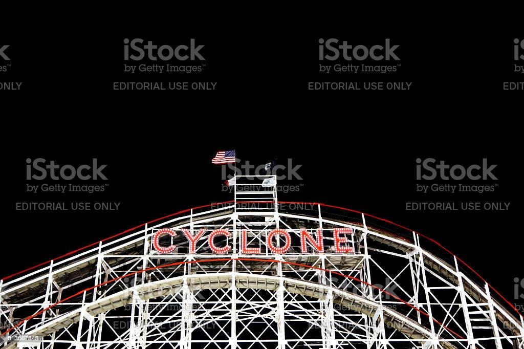 Cyclone in Night stock photo