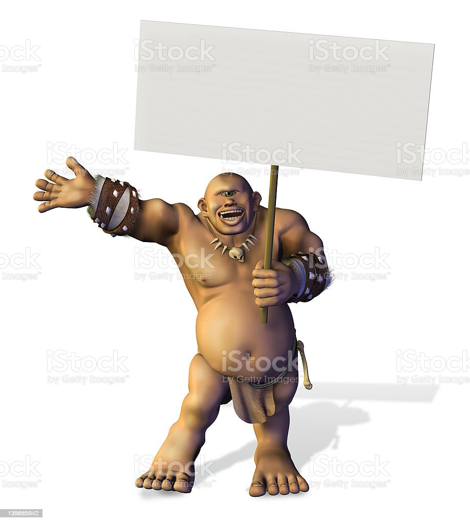 Cyclops with Blank Sign - includes clipping path royalty-free stock photo