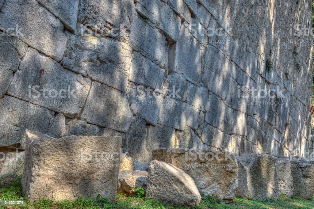 Cycoplean walls in Amelia, Umbria, Italy, detail stock photo