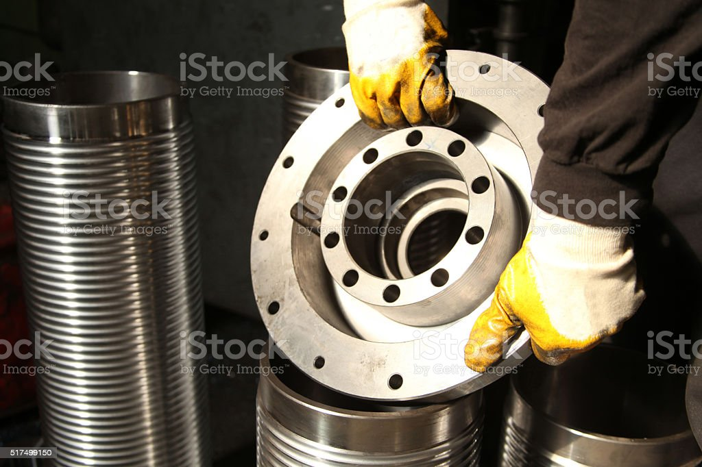 Cylinder and Worker stock photo