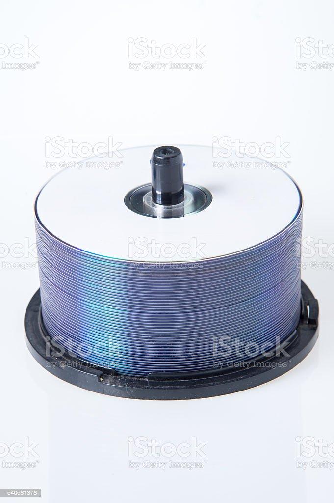 cylinder discs isolated on white background stock photo