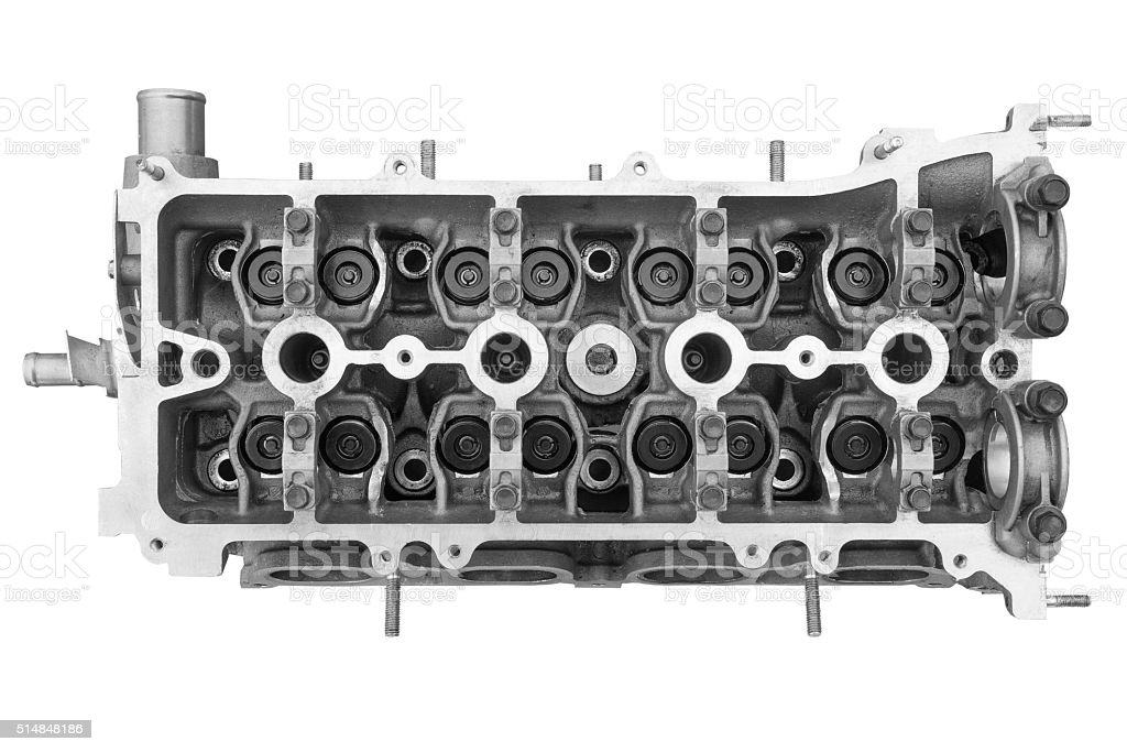 Cylinder head combustion engine stock photo