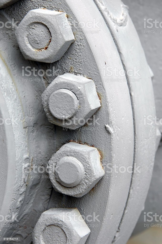 Cylinder nuts and bolts stock photo
