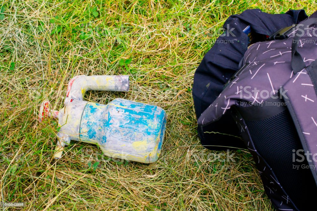 Cylinders with paint for graffiti. stock photo