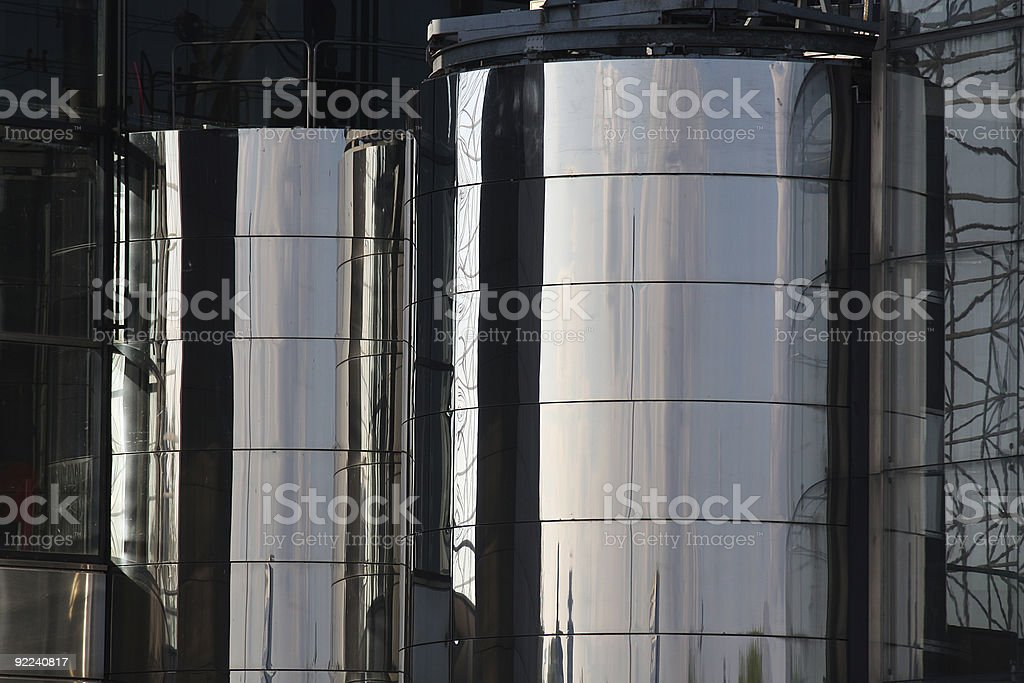 Cylindrical steel industrial storage tanks royalty-free stock photo