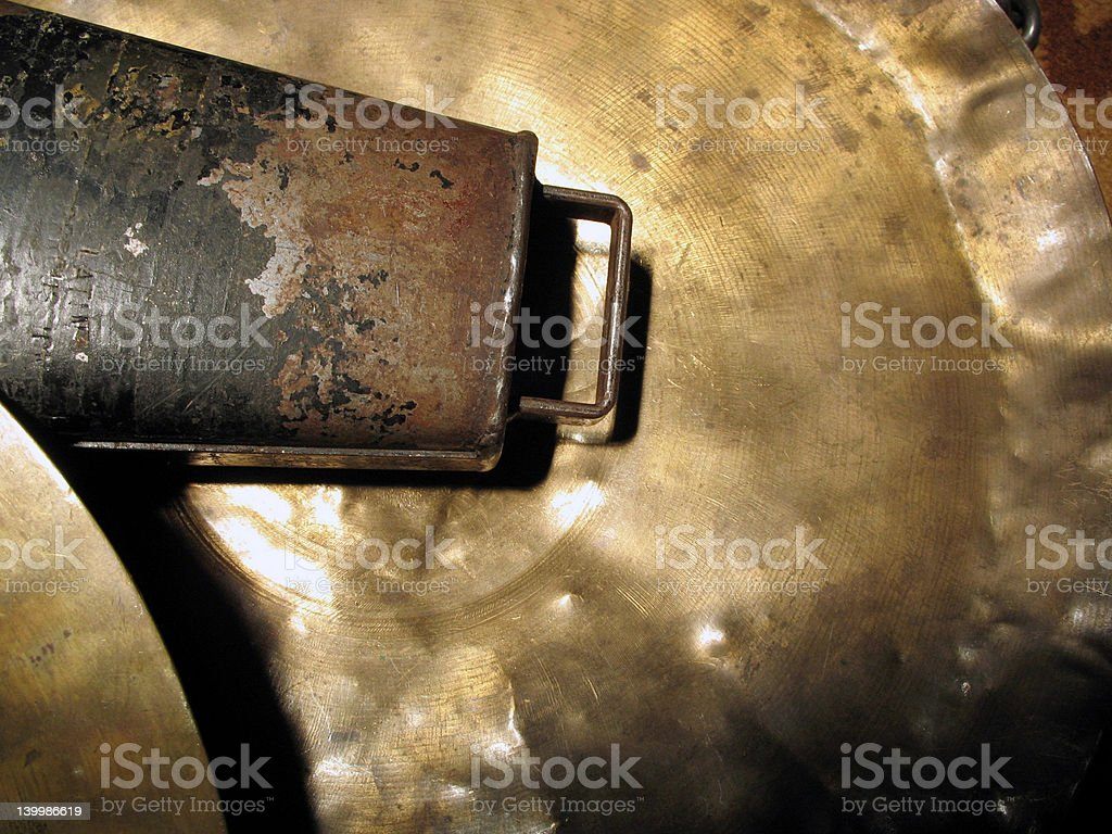 Cymbal and cow bell stock photo