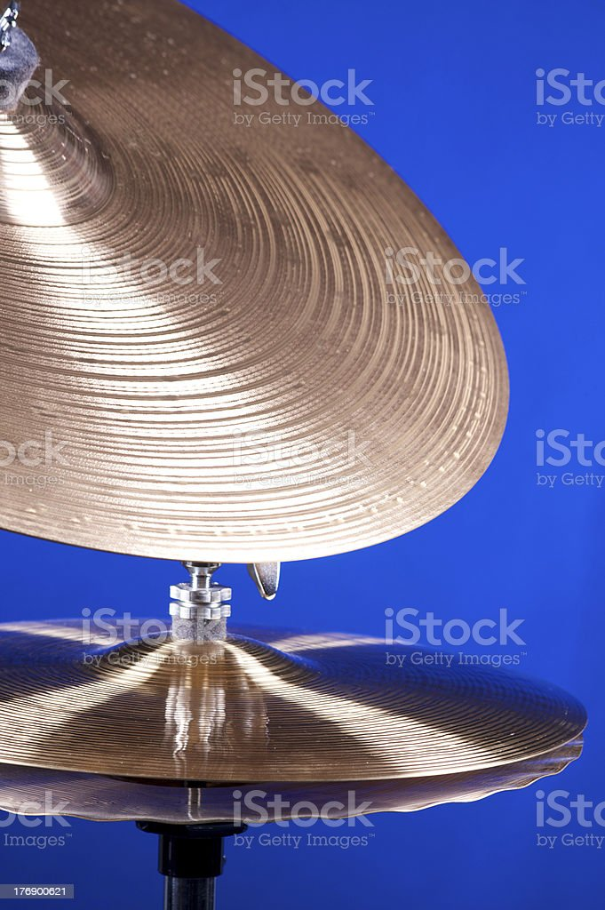 Cymbal Set Isolated On Blue royalty-free stock photo