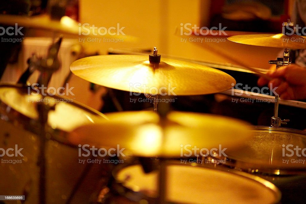 Cymbals, hi hat on stage royalty-free stock photo