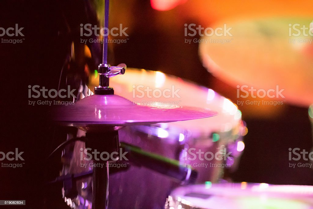 Cymbals, Hi hat, Snare Drum, on stage stock photo