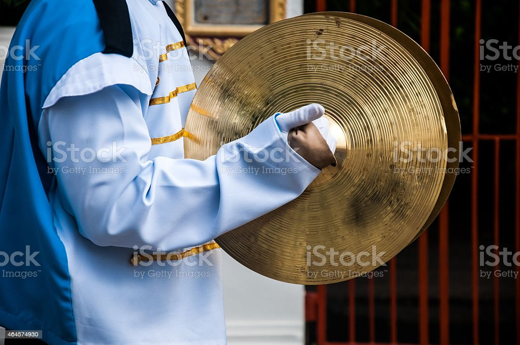Cymbals in hand- School Marching Band stock photo