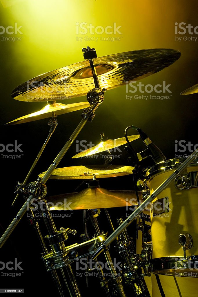 Cymbals with rock gig lighting royalty-free stock photo