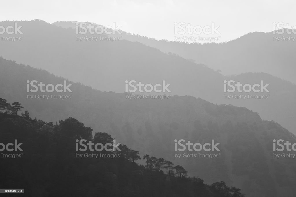cypriate mountains Troodos foggy early morning  Cyprus stock photo