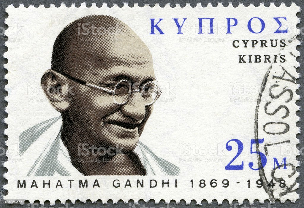 Cyprus 1970 stamp portrait Mohandas Karamchand Gandhi (1869-1948) stock photo