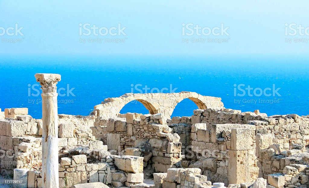 Cyprus, archaeological place front of the sea stock photo