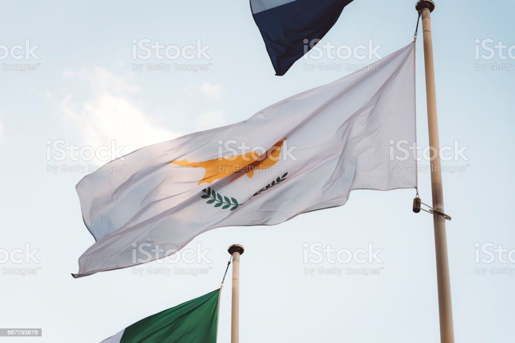 Cyprus Flag In The Wind stock photo