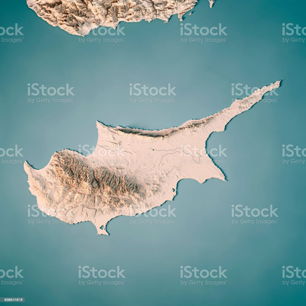 Cyprus Island 3D Render Topographic Map Neutral stock photo