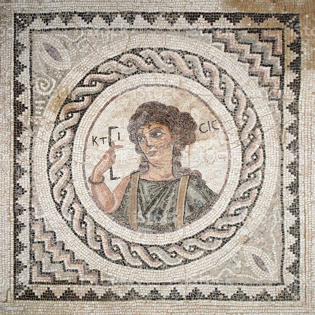 Cyprus Kourion House of Eustolios mosaic royalty-free stock photo