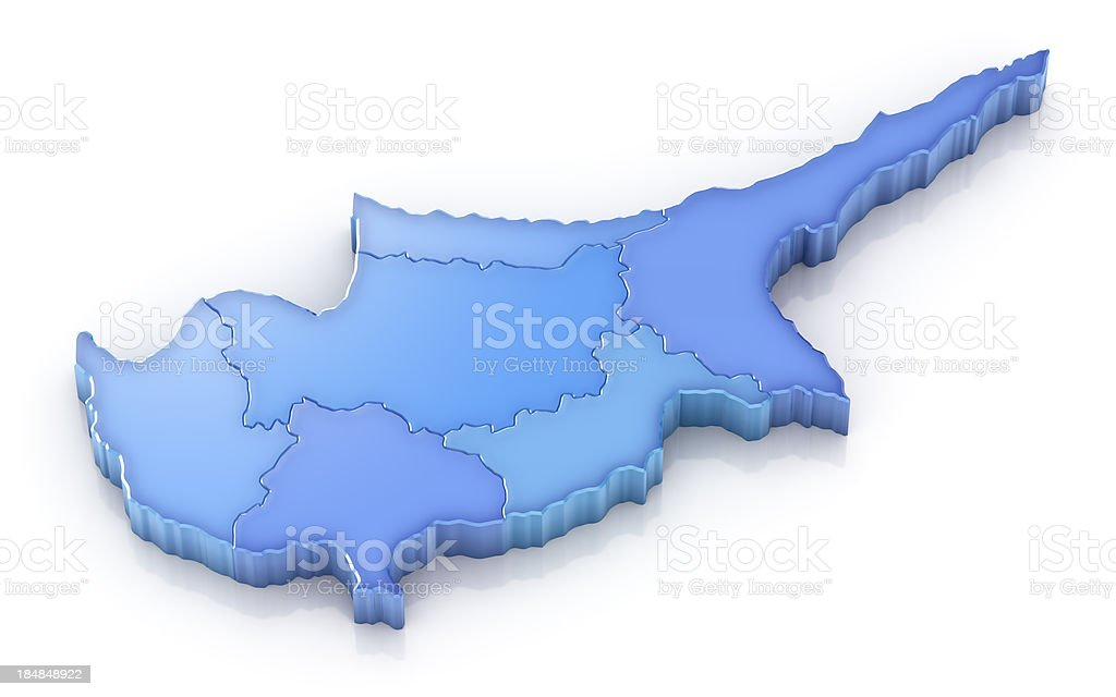 Cyprus map with districts royalty-free stock photo
