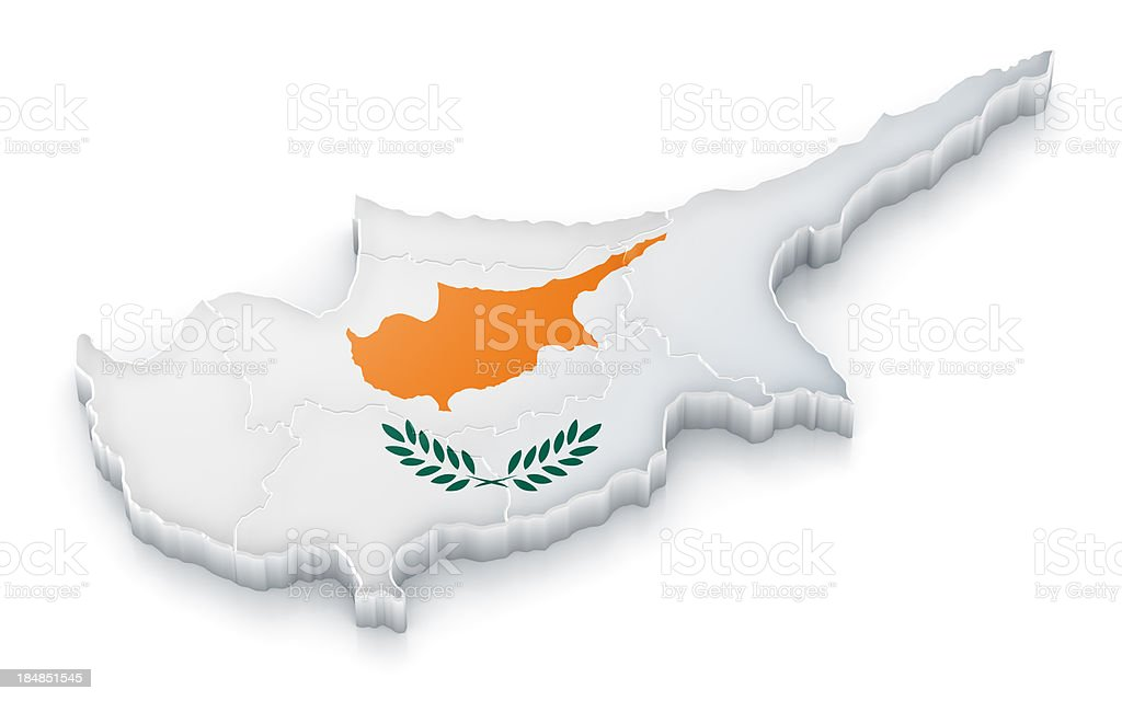 Cyprus map with flag stock photo