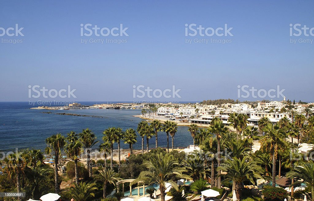 Cyprus Paphos town and harbour stock photo