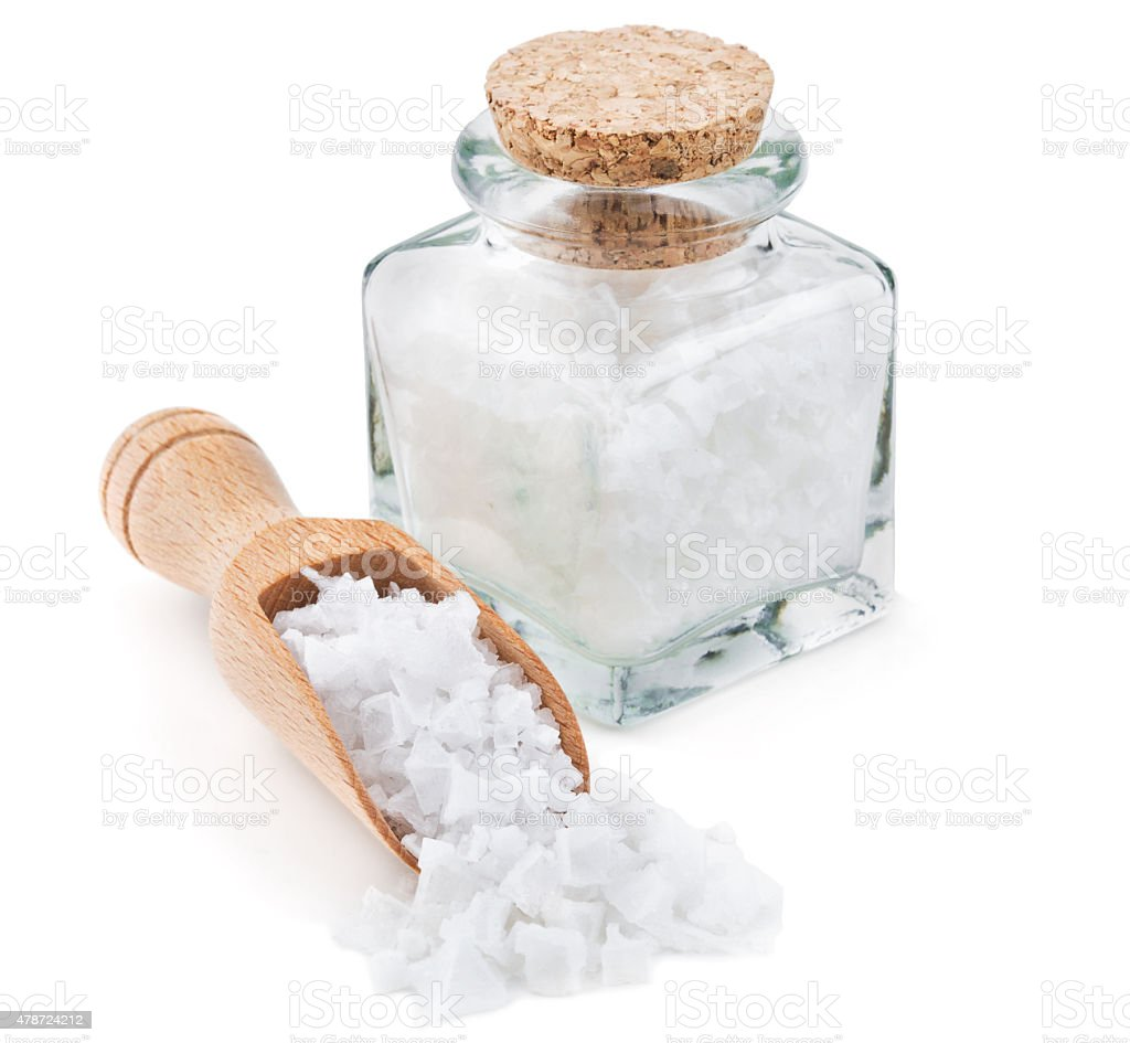 Cyprus sea salt flakes in a glass bottle stock photo