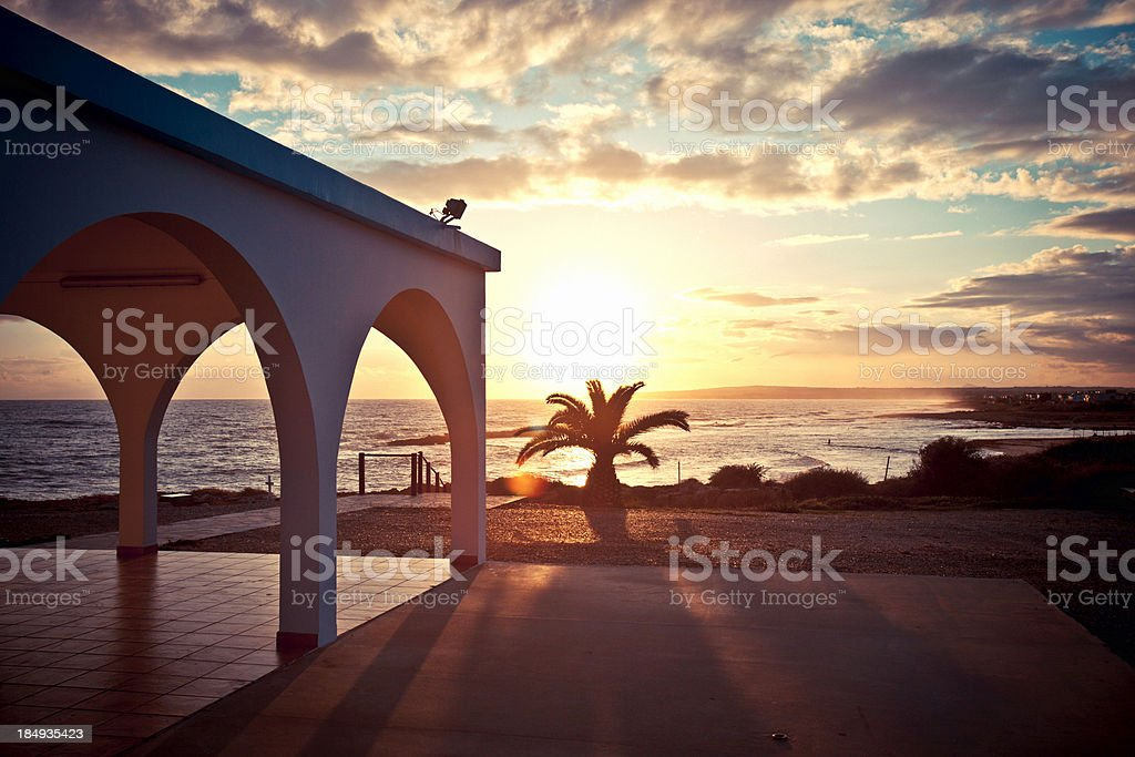 Cyprus sunset. stock photo