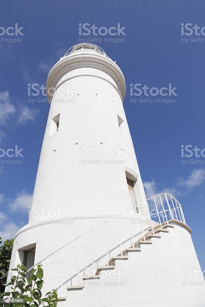 Cyprus  white lighthouse in archaeological Paphos site against sky royalty-free stock photo