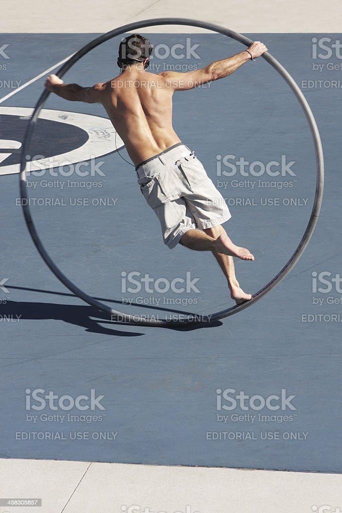 Cyr Wheel Acrobat Performer royalty-free stock photo