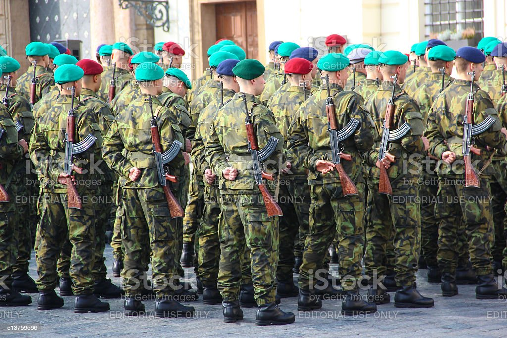 Czech army forces, oath at the presidential Palace stock photo
