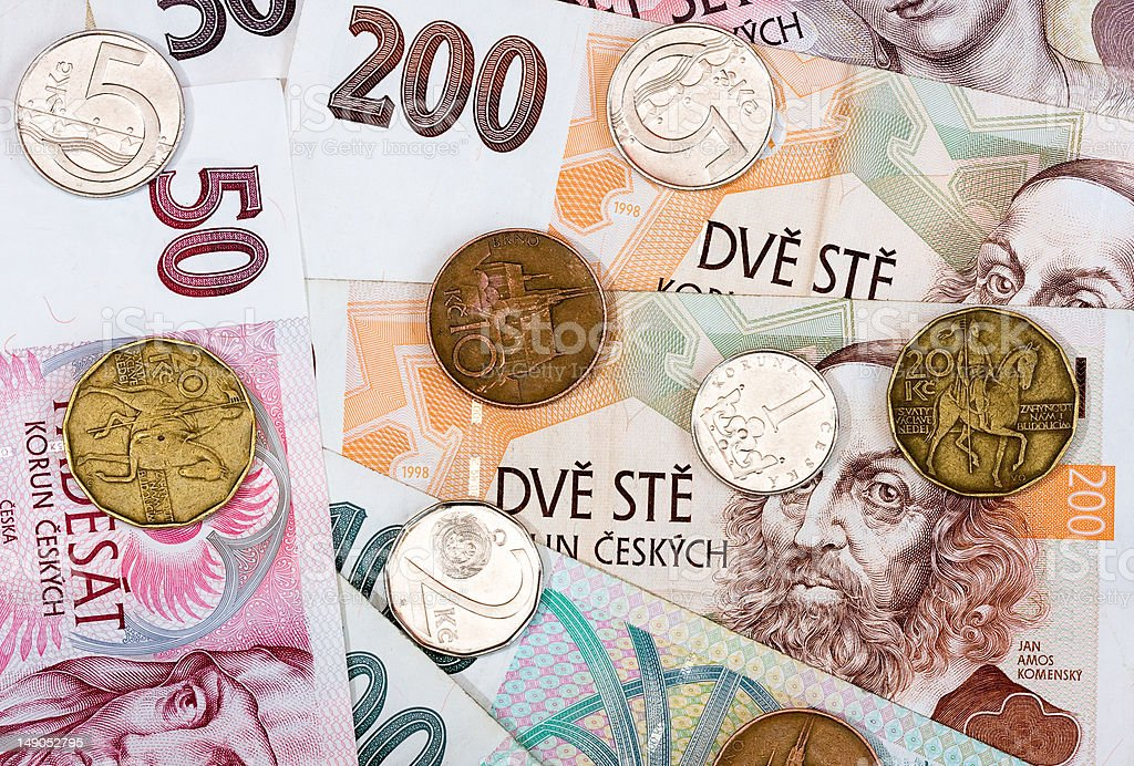 Czech bank notes and coins royalty-free stock photo