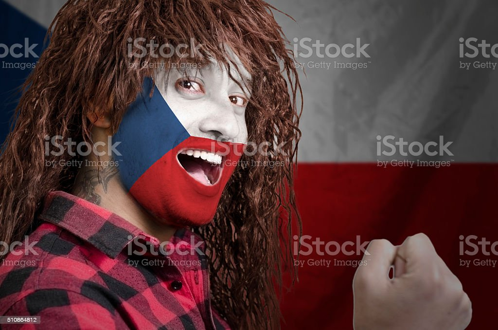 Czech fan with face painted stock photo