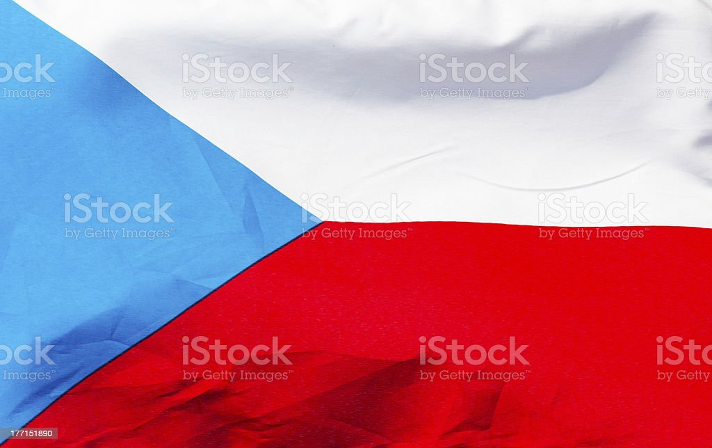 Czech flag in wind  close up royalty-free stock photo