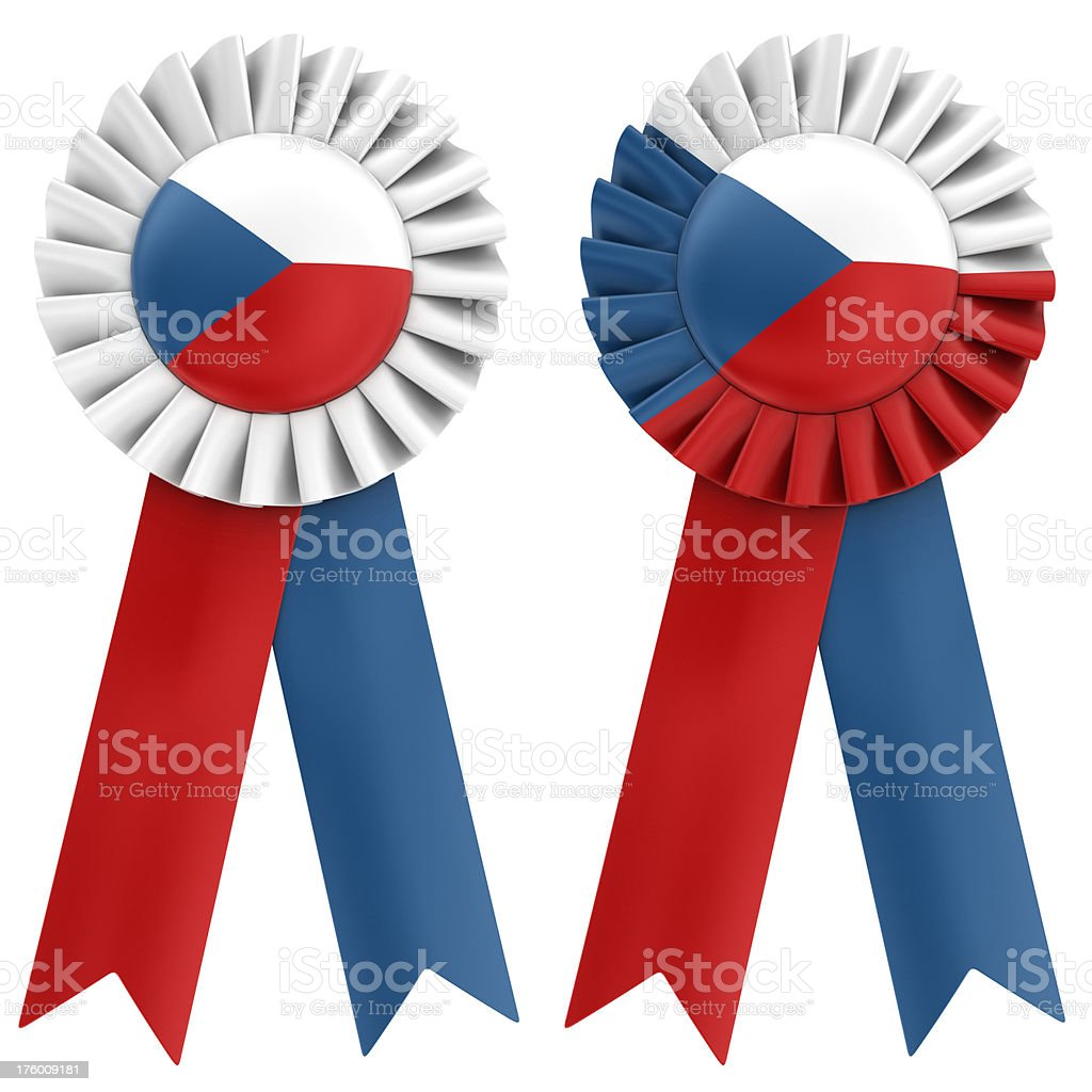 czech flag on ribbon royalty-free stock photo