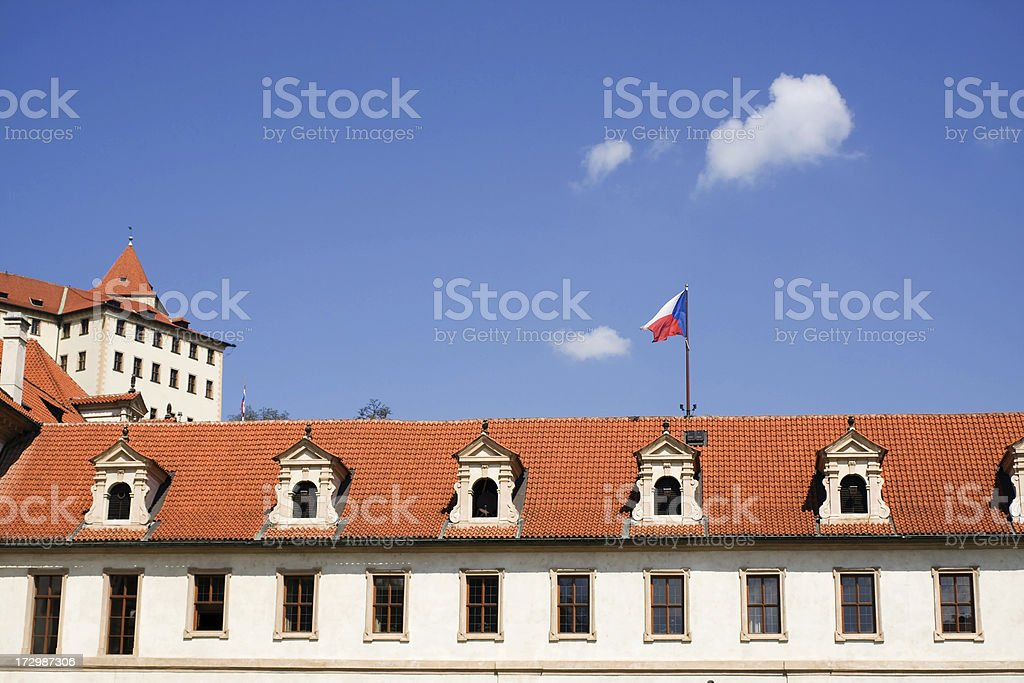 Czech flag over state Senate royalty-free stock photo