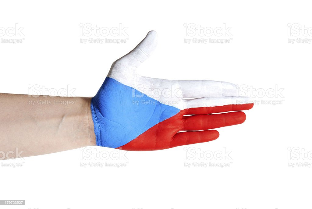 czech hand in handshake gesture royalty-free stock photo