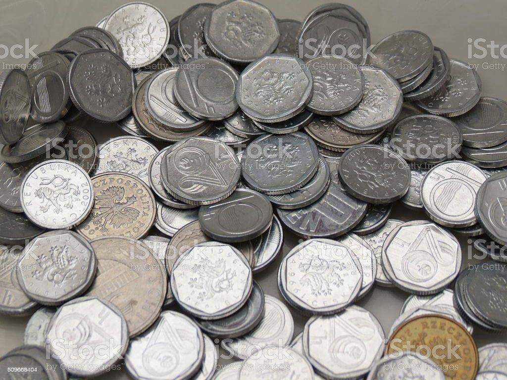 Czech korunas coins stock photo
