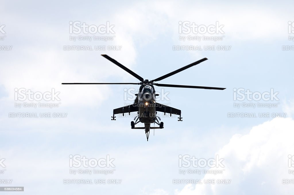 Czech Mil Mi - 24 Hind attack helicopter stock photo