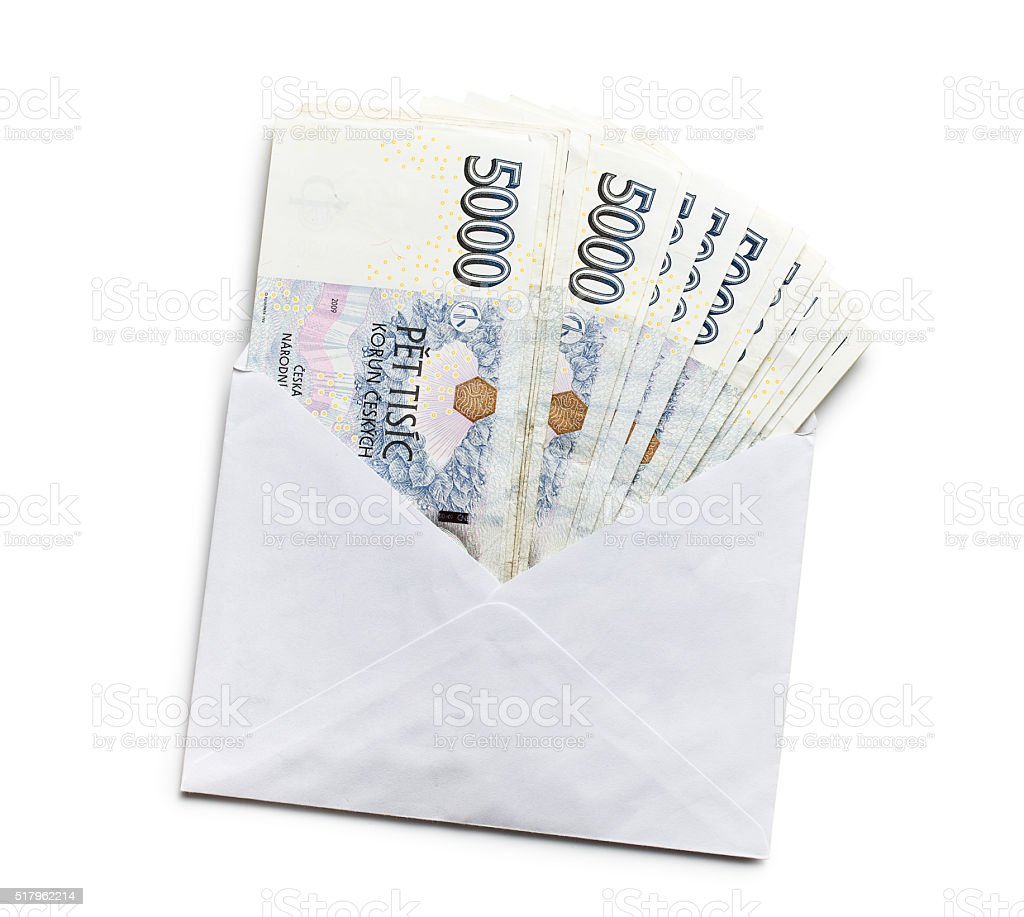 czech money in envelope stock photo