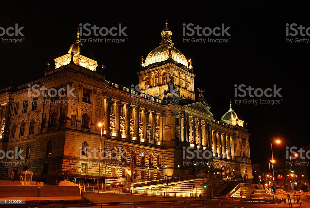 Czech national museum in the night stock photo