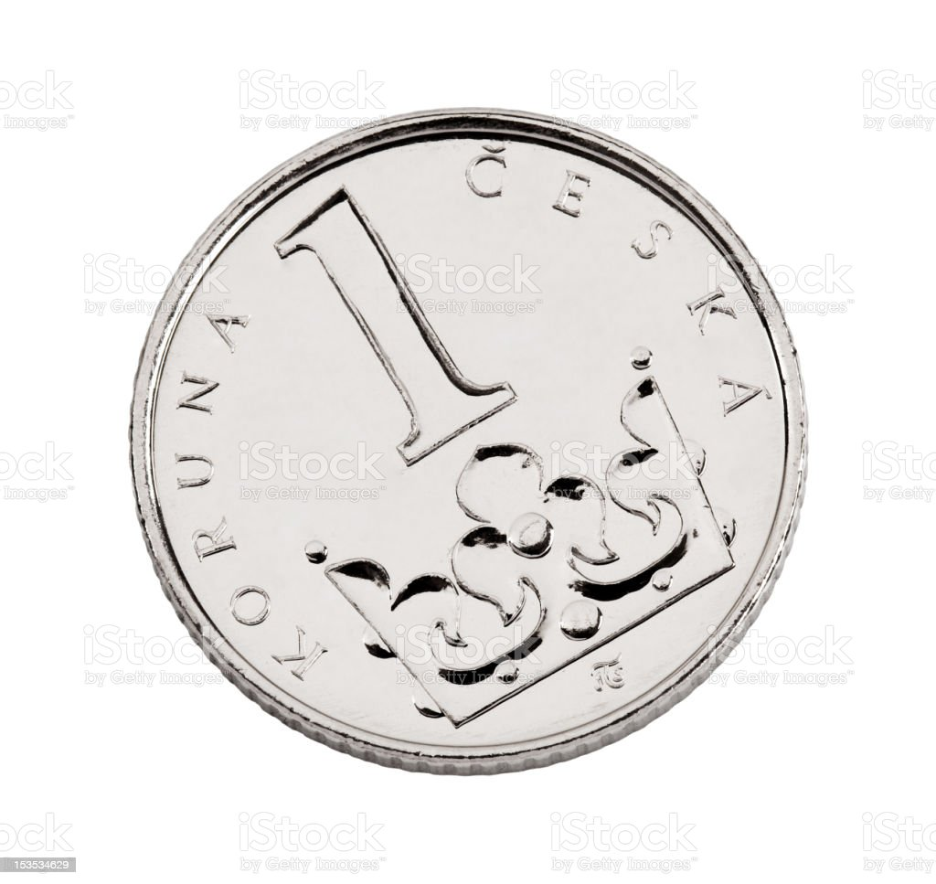 Czech one-crown coin royalty-free stock photo