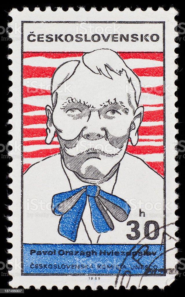 Czech postage stamp: Pavol Orszagh Hviezdoslav royalty-free stock photo