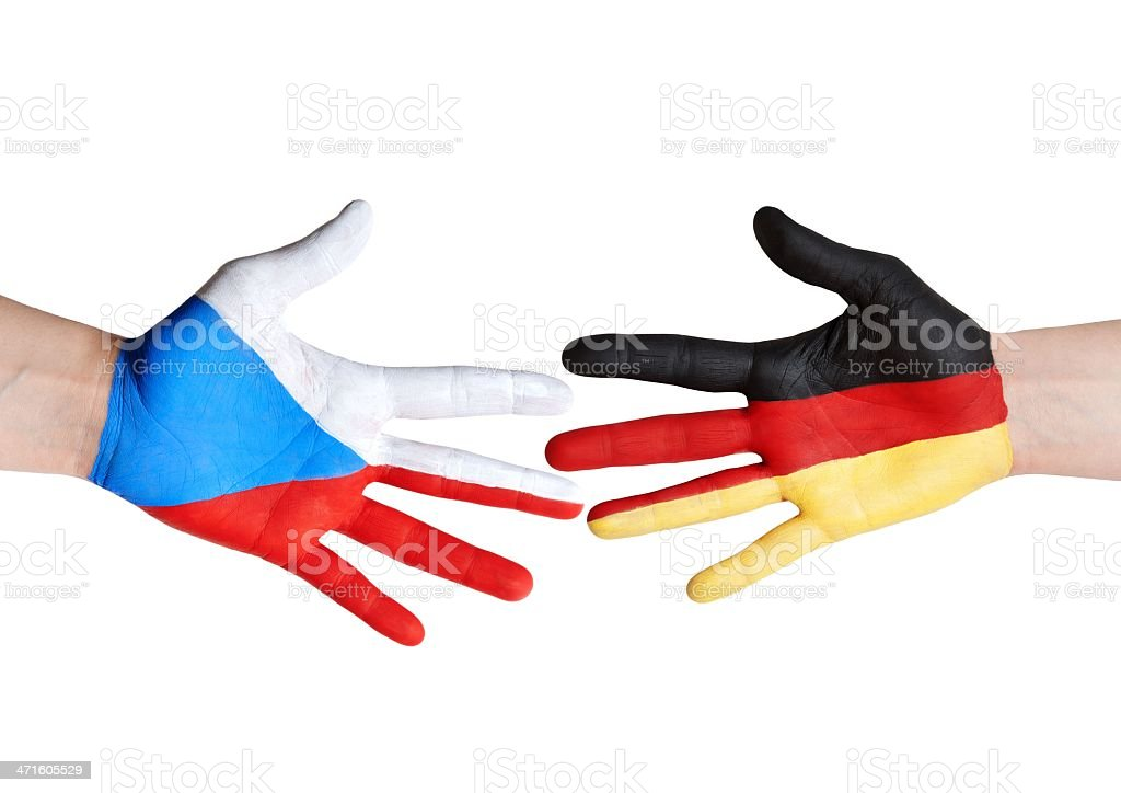 czech republic and germany symbolized with hands royalty-free stock photo