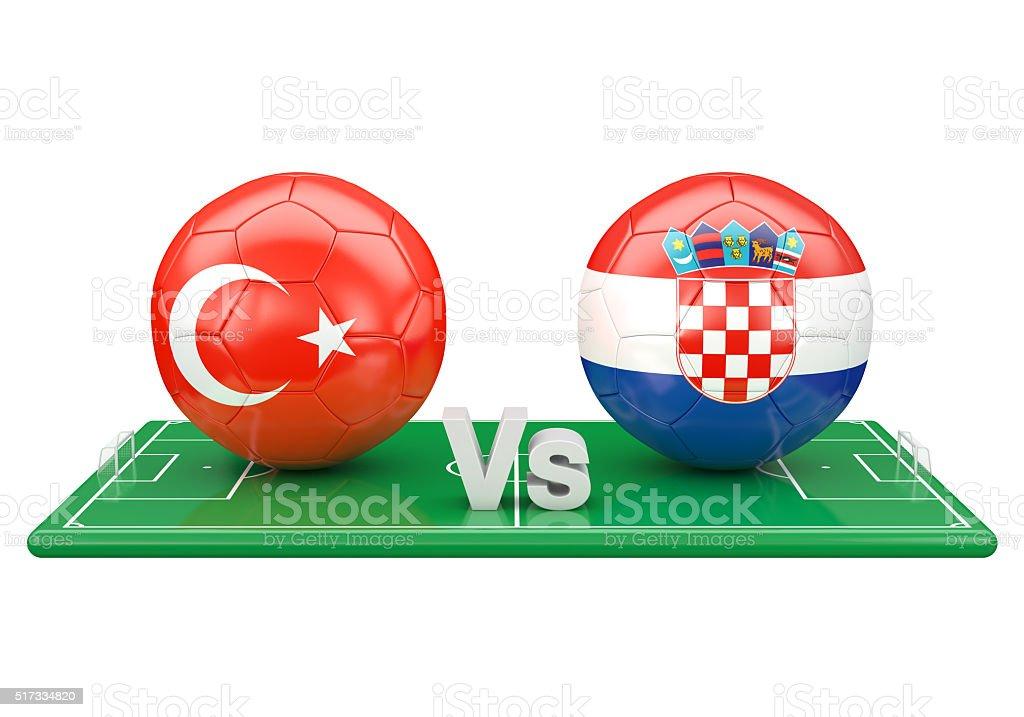 Czech republic / Croatia soccer game stock photo