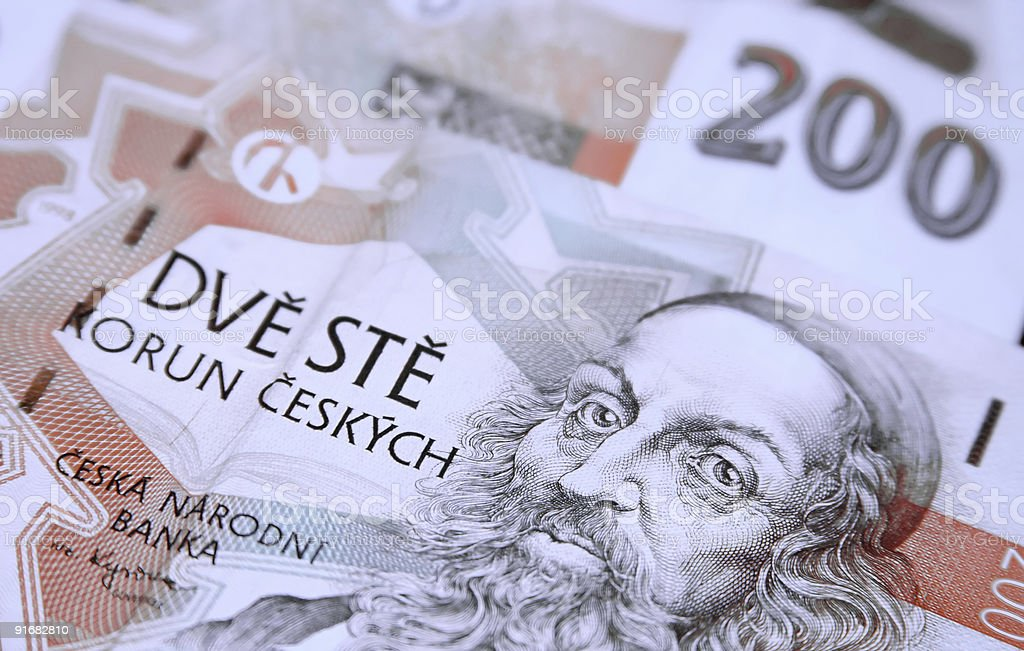 Czech Republic currency banknotes royalty-free stock photo