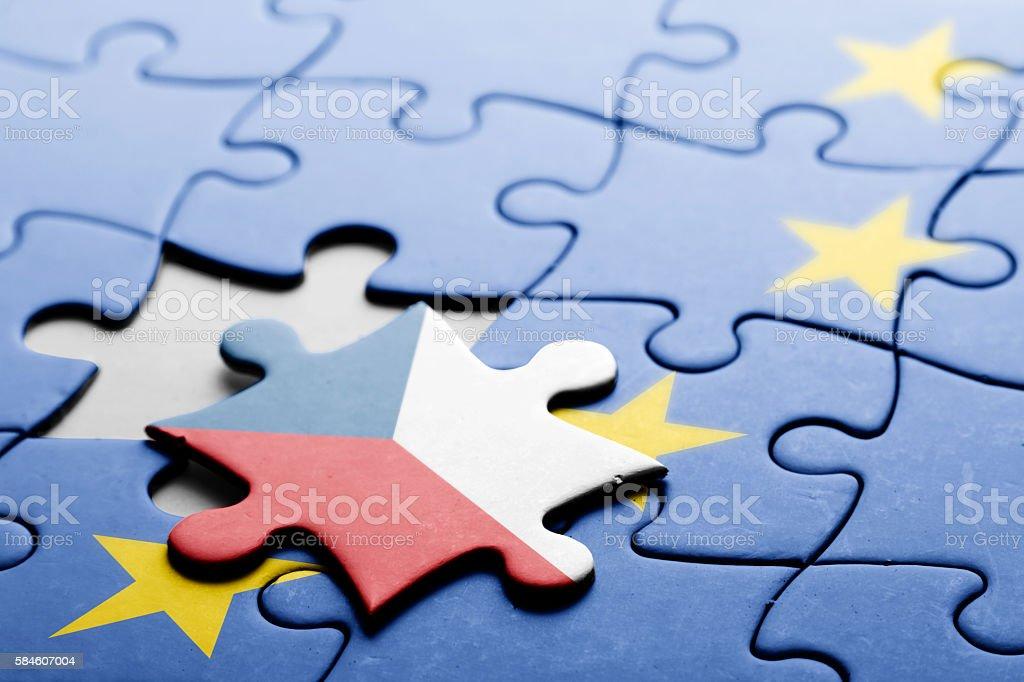 Czech Republic. Exit from European Union concept puzzle stock photo