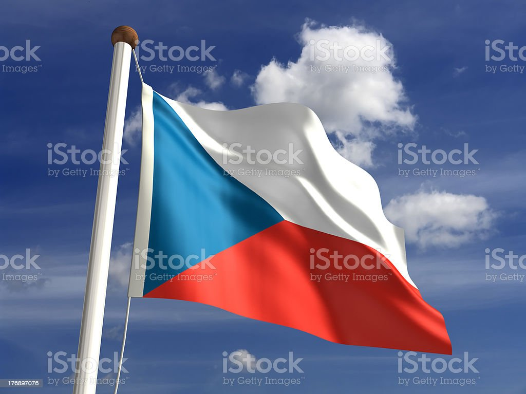 Czech Republic flag (with clipping path) stock photo